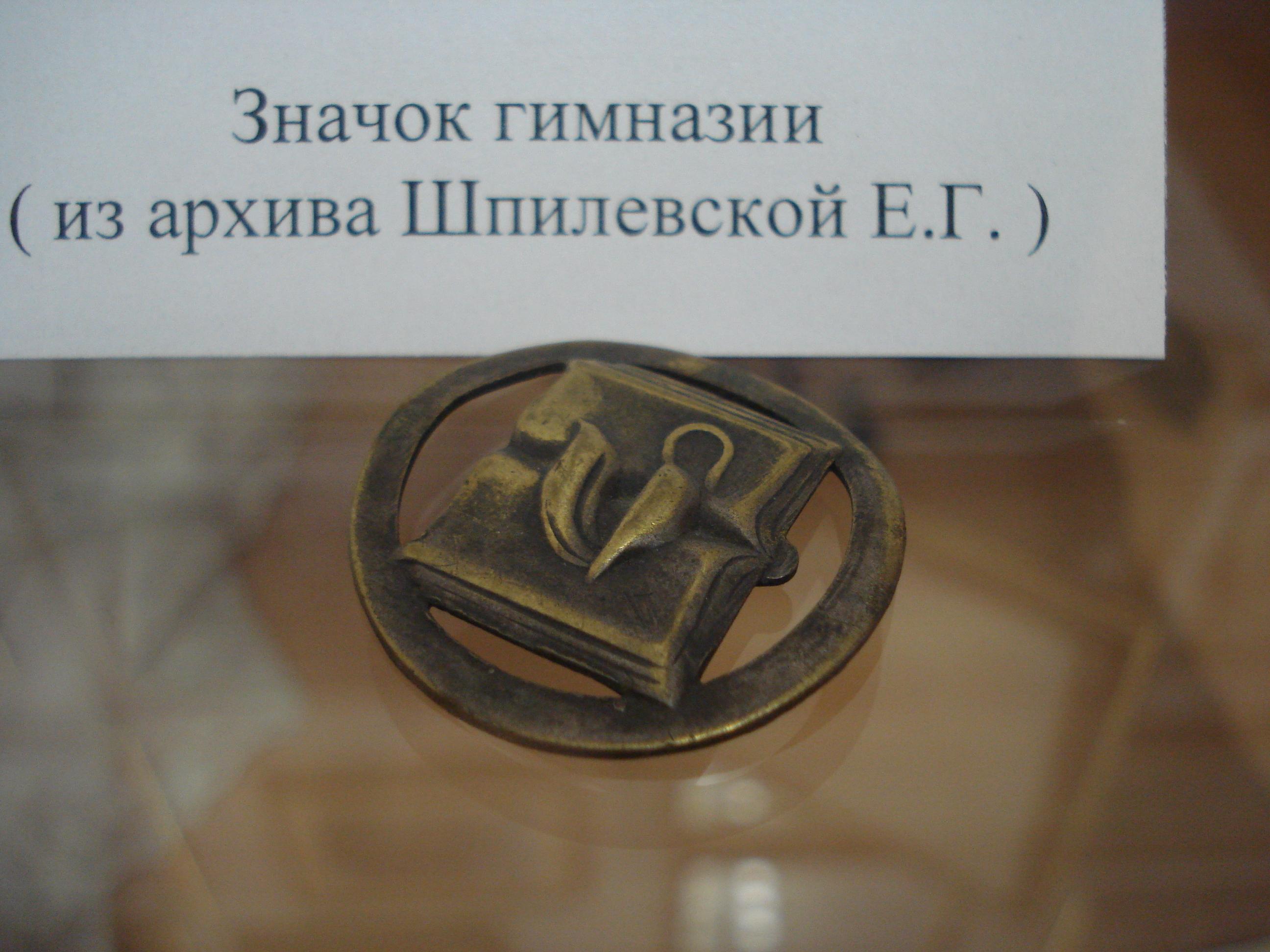 Значок Пушкинской гимназии в музее Пушкина